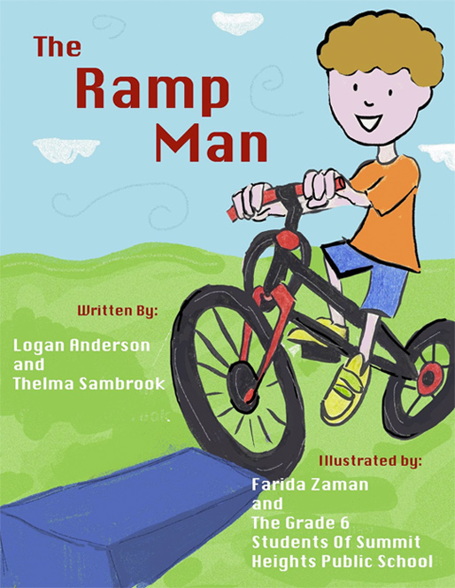 an illustrated child on a bike races up a ramp with the title the ramp man