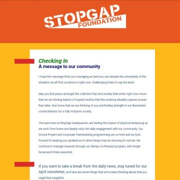 A screenshot from our last newsletter mailing with an orange header with a white StopGap Logo, and blue and green writing on white background, in front of a yellow frame