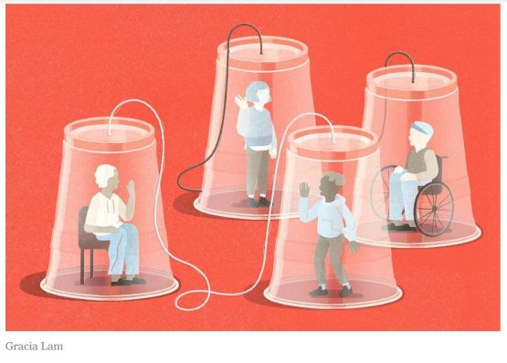2 sets of 2 clear cups, meant to be like old fashion 'cup phones' each encasing a person. A person sitting on a chair waves at person standing in running gear and a person standing waves at a person seated in a wheelchair. The illustrator's name, Gracia Lam, is written below